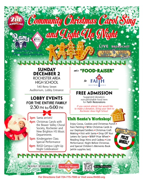 2nd Annual Christmas Carol Sing & Light Up Night